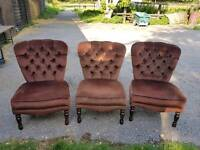 3 x bedroom chairs brown