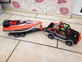 Playmobil jeep & speed boat