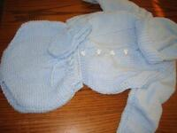 knitted baby sets with booties and hats, $40