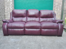 Leather reclining 3 seater oxblood settee sofa in very good condition / free delivery