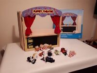 Wooden Puppet Theatre + 12 Finger Puppets