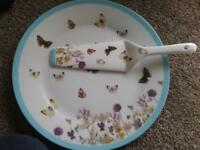 butterfly meadow cake plate&server with matching cake stand 2 tier