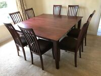Extendable Solid Wood Dining Table & 8 Chairs