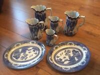 Victoria ware iron stone pitchers and plates