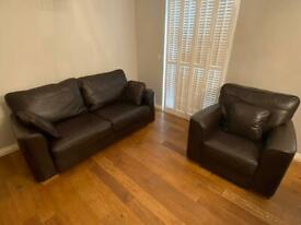 Luxury Brown Leather 3 Seat Sofa & Arm Chair Set