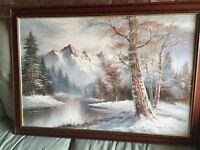 Large oil painting snow mountain scene