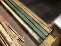"""5 wooden fence posts, 75 x 75mm (3"""" x 3"""")"""