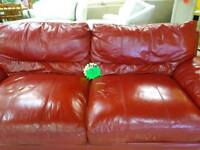 Red leather 3&2 sofa suite for 150 pounds bargain