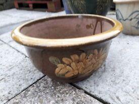 Ceramic glazed oriental style garden pot or planter