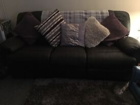 3 & 2 brown leather reclining soafs