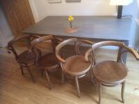 4 curved back wooden carver dining chairs