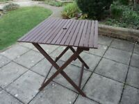 WOODEN SLATTED FOLDING GARDEN PATIO TABLE.