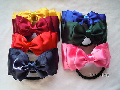 Jemlana's handmade triple layer satin ribbon hair tie for school girls... ()