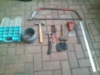 tools for sale. hammers. bow saw(spare blade) wrench. chishel. etc