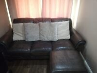 Leather couch (Italian leather)with armchair and footstool