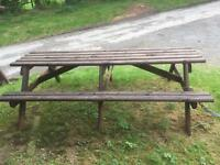 Wooden garden bench table
