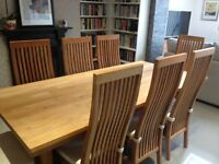 SOLID TEAK DINING TABLE & EIGHT HIGH BACKED CHAIRS