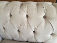 Hand made in uk 3 seater sofa chesterfield style cream fabric