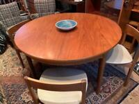 Mid century space saver round dining table and chairs