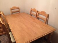 Light Oak Dining Room Table and six chairs
