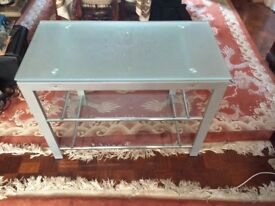 Glass Tv Table with two shelves