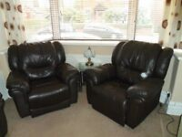3 piece brown leather suite with recliners for sale