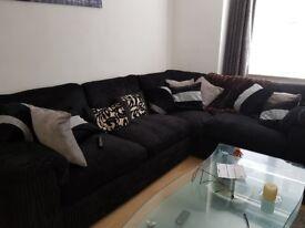 Black jumbo cord corner sofa OFFERS CONSIDERED