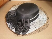Vintage C&A Ladies Formal Hat Black/Grey - Iconic Shape - Wedding - Mother of the Bride