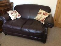 Beautiful Laura Ashley Chesterfield style 2 seater brown leather sofa