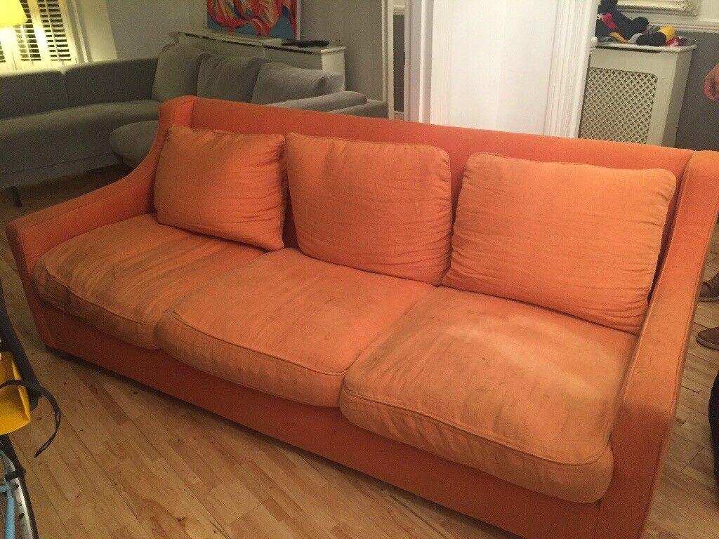 Large 3 seater sofa / couch orange fabric