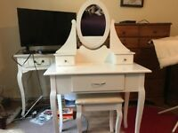 White dressing table and stool nearly new with mirror