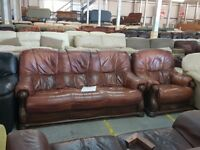 PRE OWNED Oak Frame 3 Seater + Chair in Brown Leather