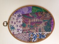 Handmade Embroidery Hoop Patchwork Wall Hanging Plaque