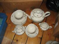 GERMAN VINTAGE SET OF CUP, SAUCER, TEA CUPS, TEA POT, SIDE PLATES, porcelan,with gold rim