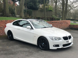 BMW 3 Series Mineral White E92 320d M Sport, Gloss black wheels, Gloss black roof