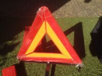 Warning Triangle for Emergency use folds up and goes into red box for easy carrying in boot of car
