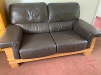 2 x Brown Leather sofa