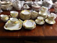 Art Deco yellow leaf and berry china tea set