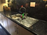 Franke Erica stainless steel 1.5 bowl sink & drainer and COOKE & LEWIS Reno satin finish kitchen tap