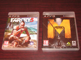 PS3 Games FarCry 3, Metro: Last Light, FPS Shooter, Sony PlayStation 3, Case Discs