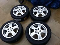 """Alloy wheels 16"""" studs 5x112 with brand new winter tyres 205/55"""