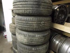215/60R16 SET OF 4 MATCHING USED HANKOOK TIRES
