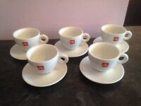 Illy Cappuccino Cups and Saucers sets of 5