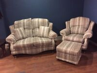 2 seater sofa with chair and poufee