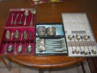 selection of silver spoons etc