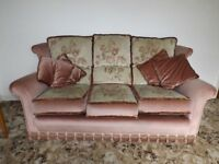 Velour 3 Piece Suite (Salmon colour) . Clean & very good condition. (1 Sofa, 2 Armchairs)
