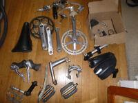 joblot of vintage bike parts, hub, crank, derailleur, levers, brakes