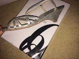 Nine West delicate silver heels, size 5