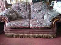 Old 3 piece suite, a two-seater and 2 armchairs