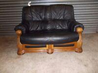 Black Leather 2-1-1 Oak Frame Suite (Sofa)